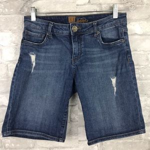 Kut from the Kloth| Distressed Bermuda Jean Shorts